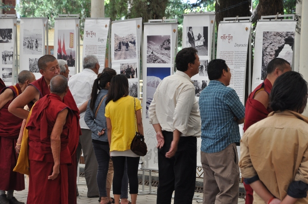 Some of the Indian and foreign tourists at an exhibition on Tibet organised by the Tibet Museum