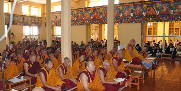Namgyal Monastery's abbot presiding over a grand prayer service on the international solidarity day for Tibet in Dharamsala, India