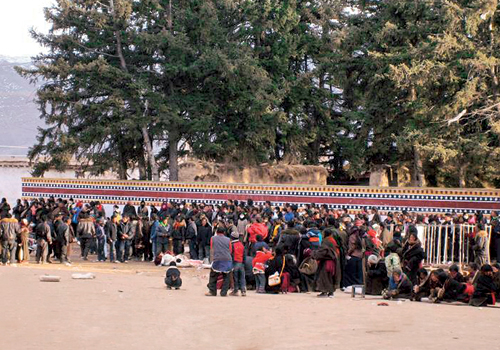 The bodies of Tibetans killed by Chinese soldiers through indiscriminate firing during peaceful protest, being brought inside Kirti Monastery for prayer offering, 16 March 2008