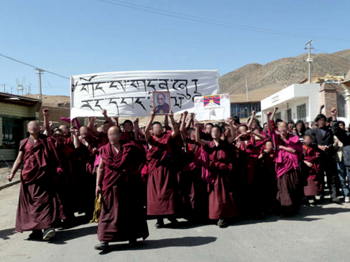 March 16th and 17th, protests by Tibetans in Tsolho, Rebkong. Monks and Kundun