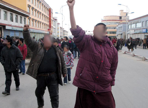 "Tibetans from Machu Counnty, Kanlho ""TAP"", Gansu Province, staged a major peaceful protest, 16 March 2008"