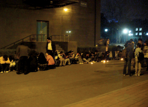 Over 100 Tibetan students at Central University for Nationalities, Beijing held a candlelight vigil for Tibetans who died under China's brutal crackdown, 17 March 2008