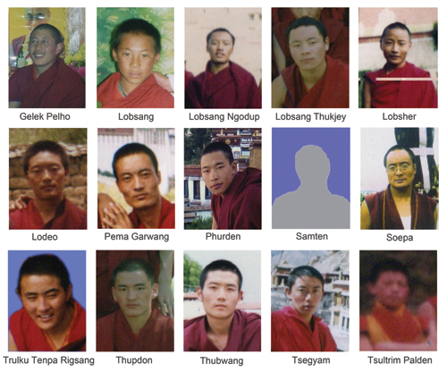 A photo of 15 student monks from Sera Monastery who were arrested and reportedly beaten severely by the Public Security Bureau (PSB) officials during their peaceful protest march from Tsuklag-khang to Barkhor, Lhasa, 10 March 2008