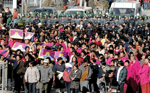 Peaceful protest led by monks of Labrang, Sangchu Country, Kanlho, Gansu Province, 14 March 2008