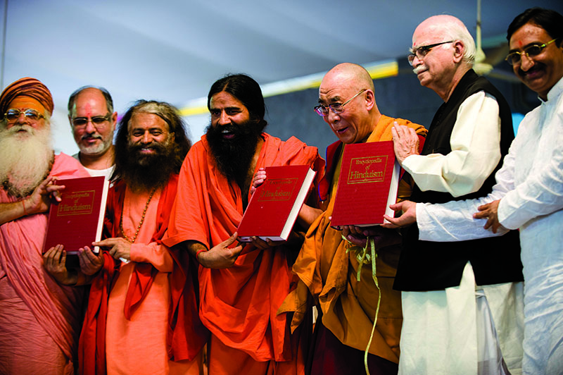 His Holiness the Dalai Lama with hindu religious leaders and former Deputy Prime Minister L.K Advani during the book launch of an encyclopedia on Hinduism in Haridwar, India, 3 April 2010