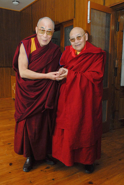 His Holiness the Dalai Lama with the Kyabje Trulshig Rinpoche