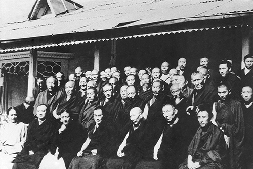 His Holiness the Dalai Lama with the Heads of major Tibetan Buddhist sects at the first Tibetan religious conference, India, 1963