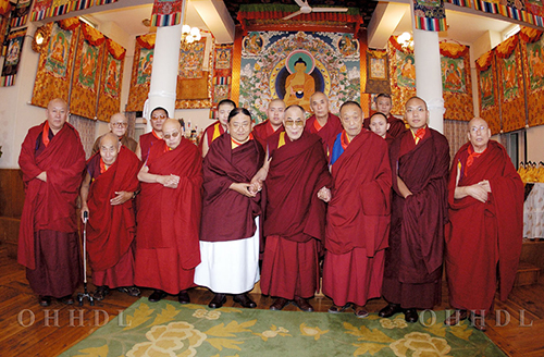 His Holiness the Dalai Lama with the heads of Tibetan Buddhism sects