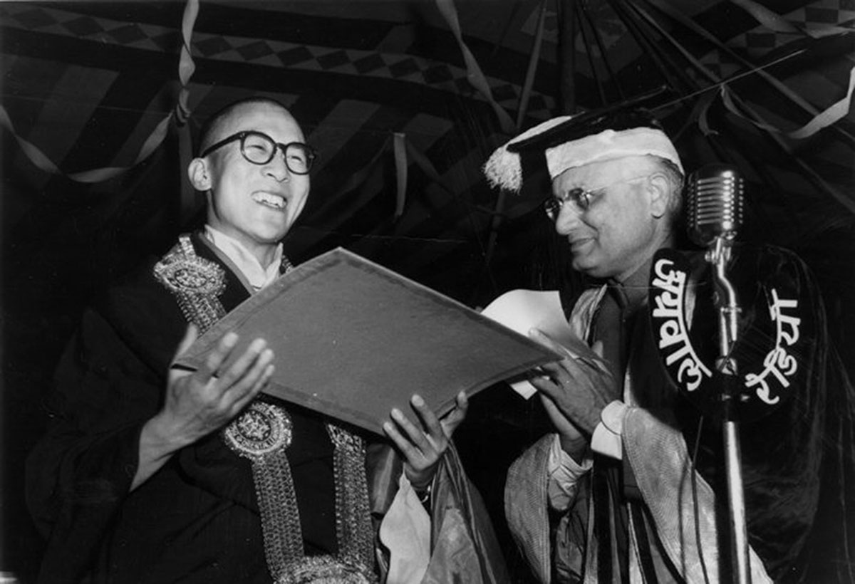 His Holiness the Dalai Lama accepting the Doctor of Letters Award from Benaras Hindu University, India, 1957