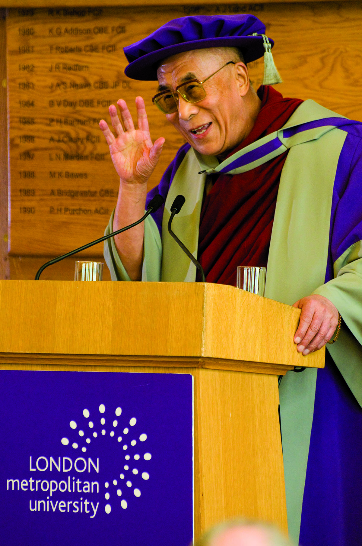 His Holiness the Dalai Lama delivering the acceptance speech after receiving an Honorary Doctorate from London Metropolitan University, UK, 21 May 2008
