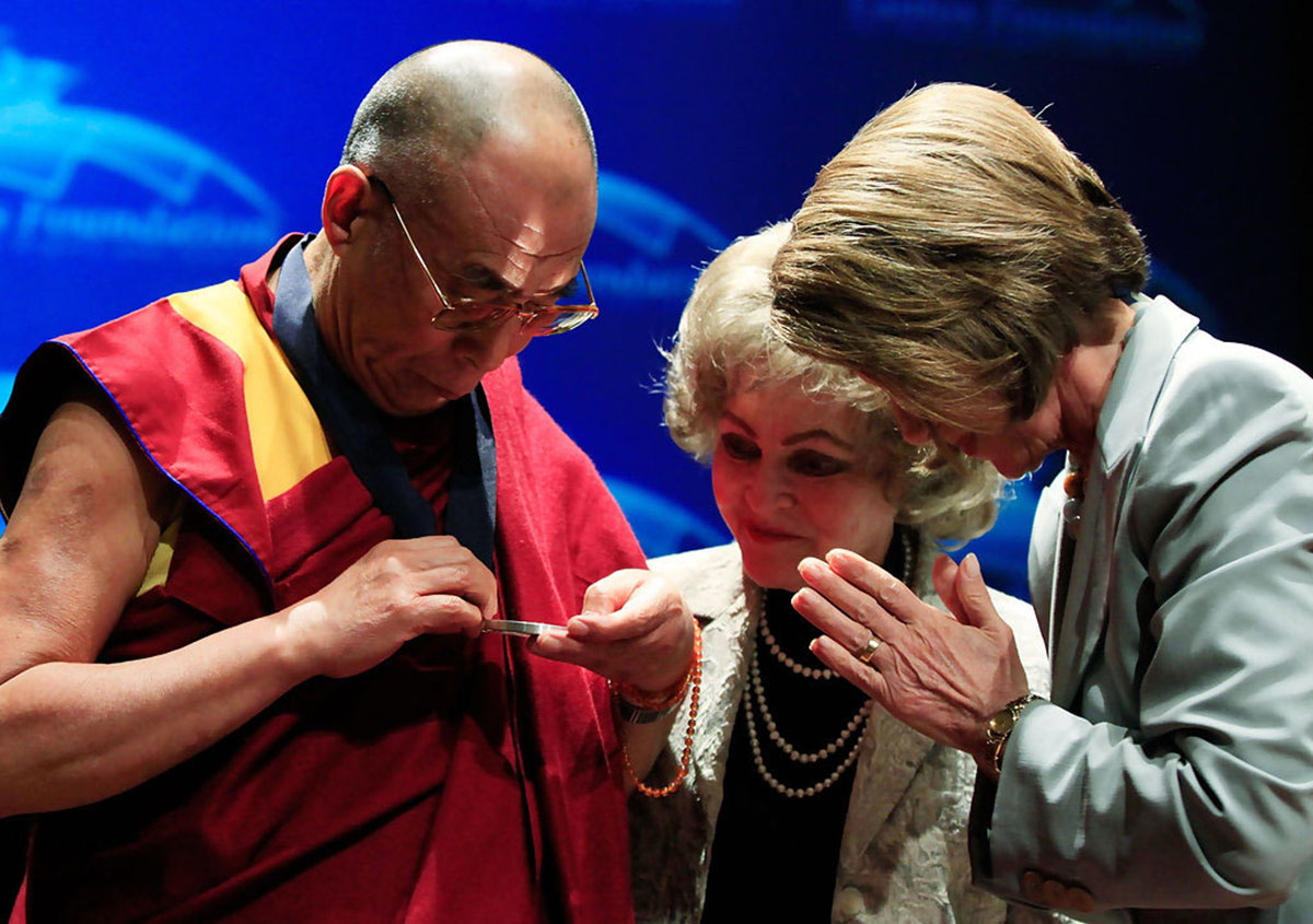 His Holiness the Dalai Lama being honoured with the Lantos Human Rights Prize by Lantos Foundation of Human Rights and Justice, USA, 6 October 2009