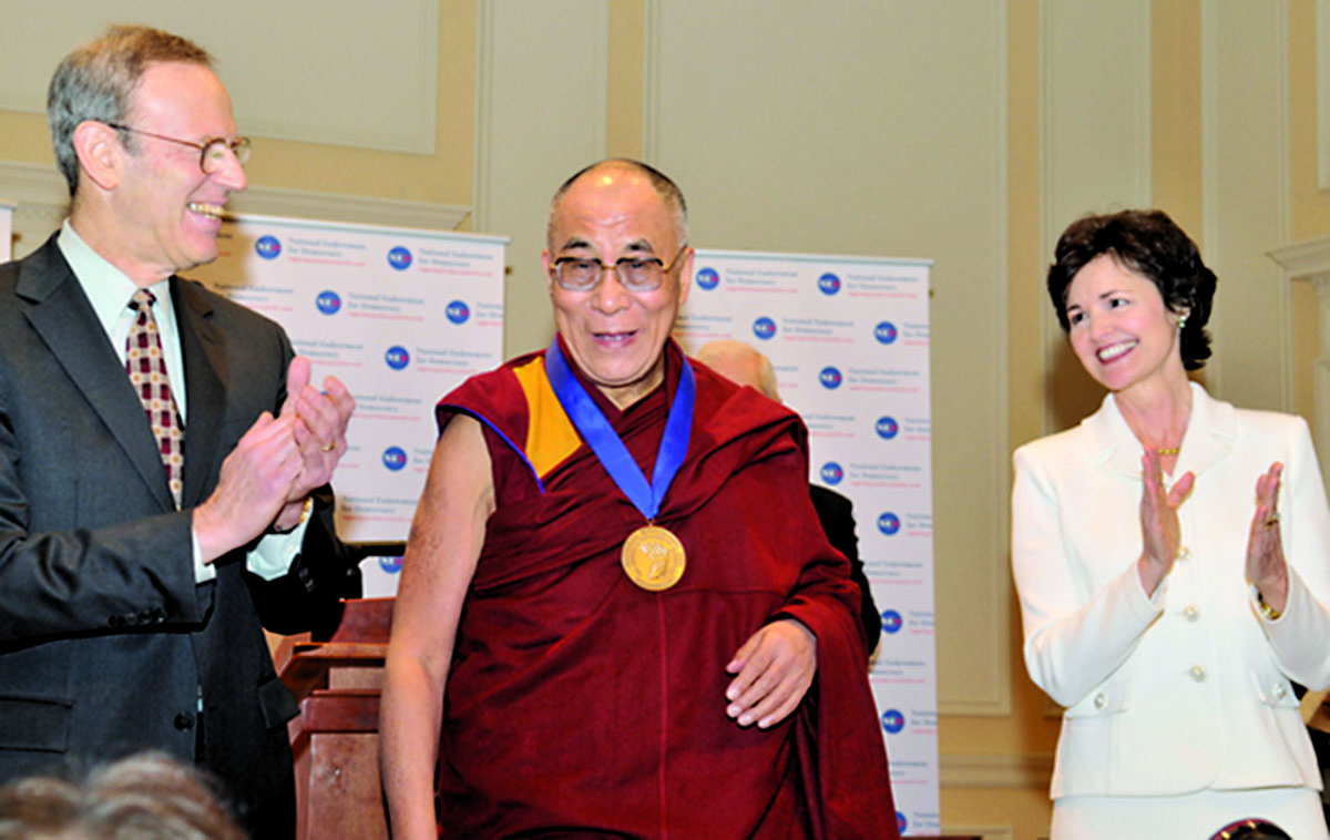 His Holiness the Dalai Lama being honoured with the Democracy Service Medal by the National Endowment for Democracy, Washington, 19 Febraury 2010