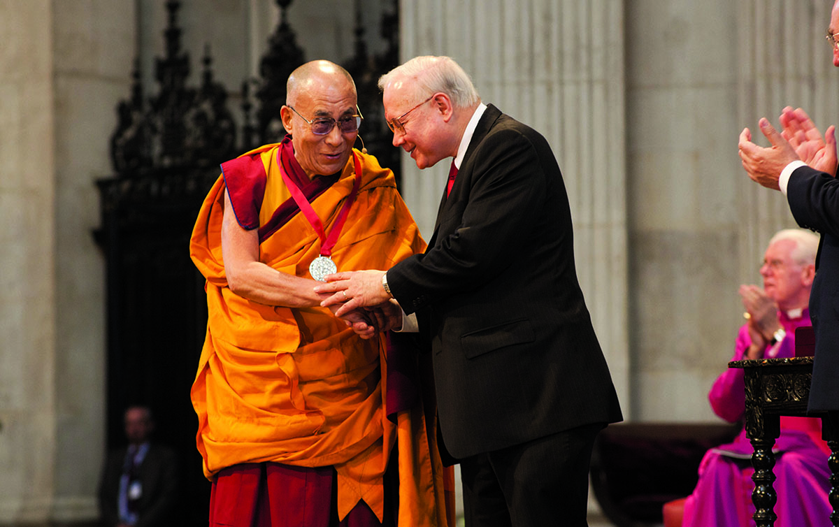 His Holiness the Dalai Lama being honoured with the 2012 Templeton Prize by Dr. John M. Templeton Jr. at St Paul's Cathedral, London, 14 May 2012