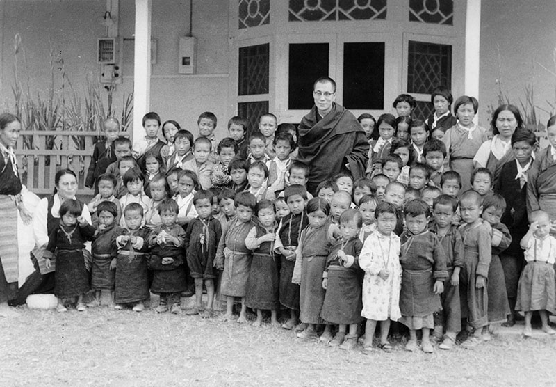 His Holiness the Dalai Lama with early Tibetan refugee students, Dharamshala, 1960s
