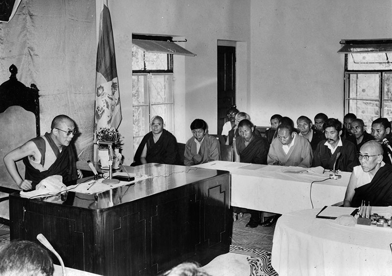 His Holiness the Dalai Lama addressing the Annual General Body Meeting of Central Tibetan Administration, 1980's