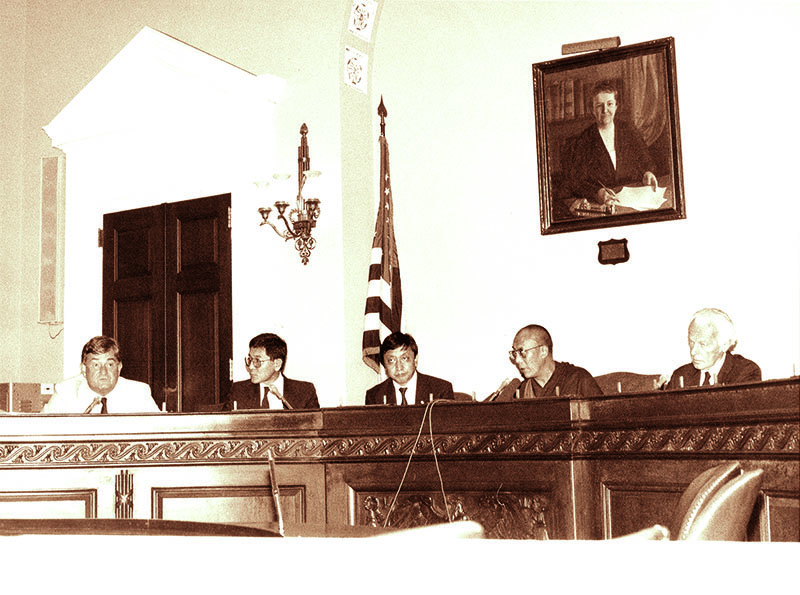 His Holiness the Dalai Lama addressing the US Congressional Human Rights Caucus and announcing his Five-Point Peace Plan for Tibet, 21 September 1987