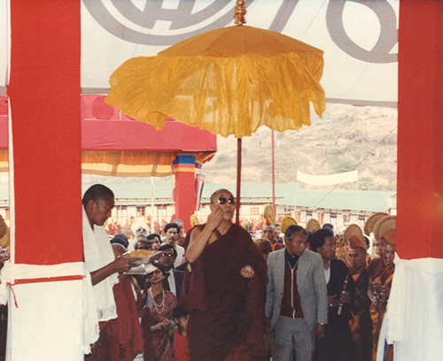 His Holiness the Dalai Lama during visit to Bomdila, Arunachal Pradesh, 1997