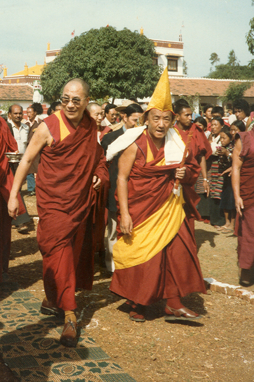 His Holiness the Dalai Lama during visit to Gaden Monastery at Mundgod, South India, 1984