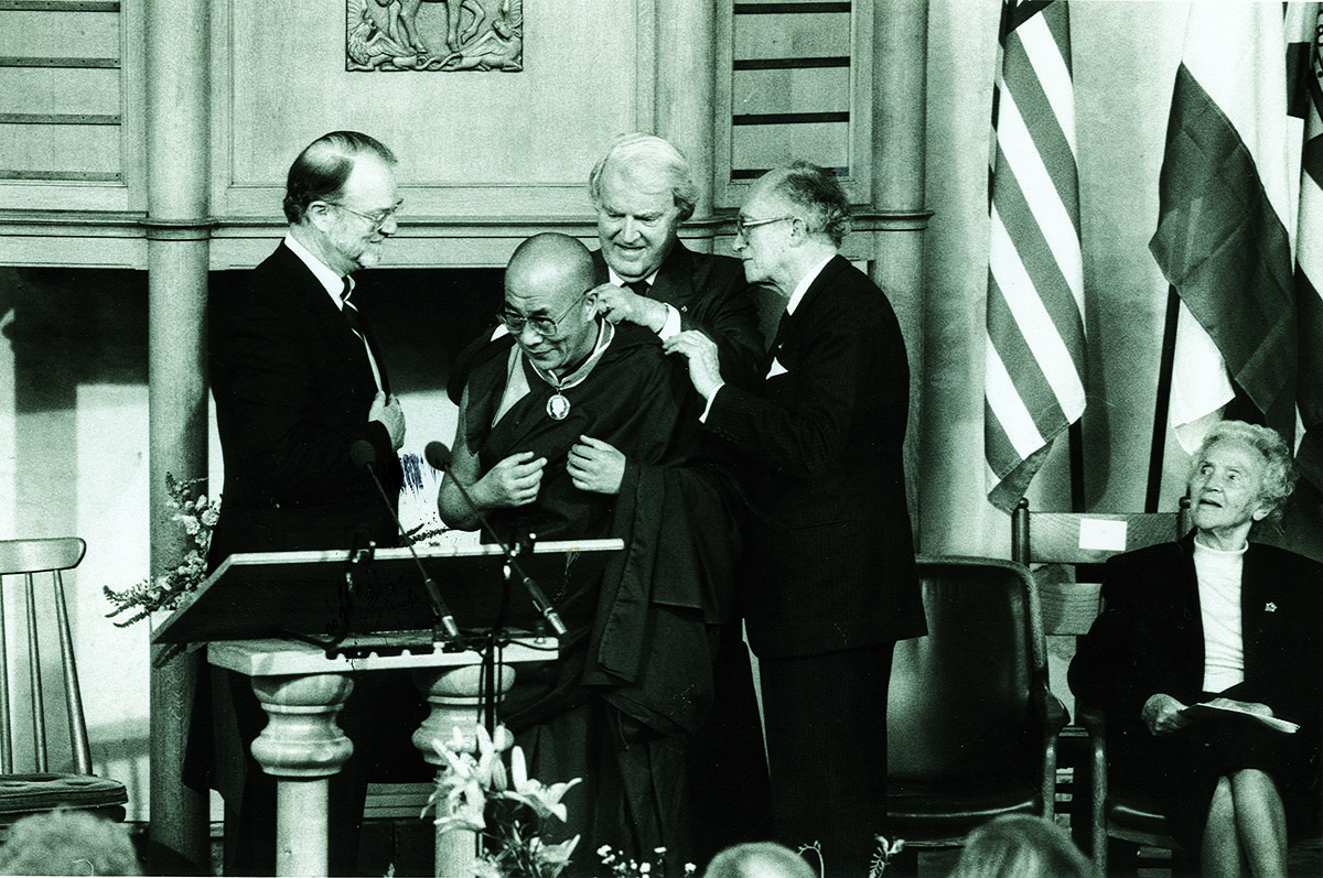 His Holiness the Dalai Lama being presented with the Franklin D. Roosevelt Freedom Medal by William J. Vanden Henvel, President of the Franklin and Eleanor Roosevelt Institute, Middelburg, US, 4 June 1994