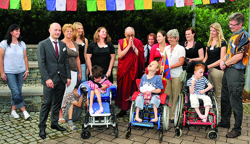 His Holiness the Dalai Lama visiting a school for spastic children, Freiburg, Germany, 24 August 2011