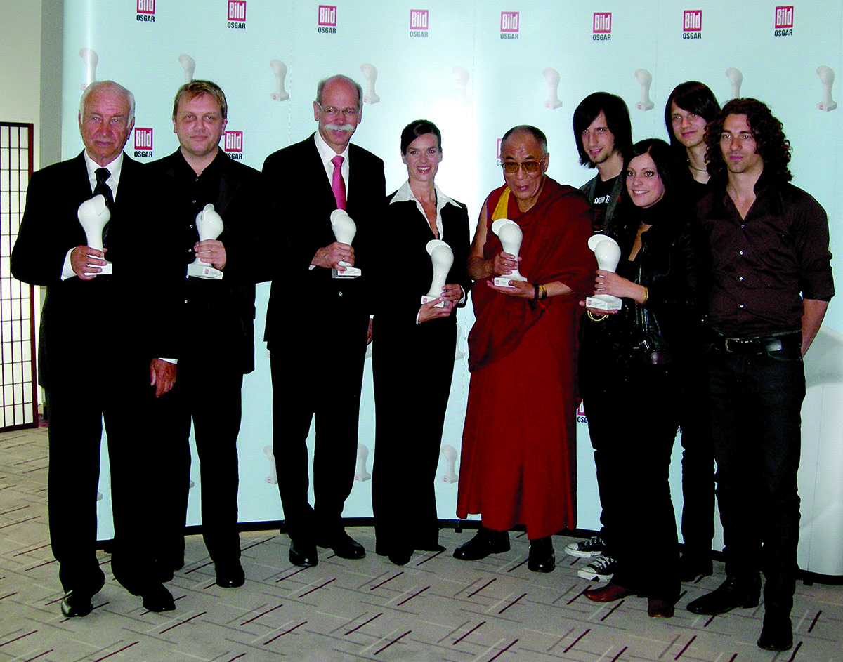 His Holiness the Dalai Lama with the winners of BILD OSGAR Award by BILD Magazine, Germany, 11 May 2007