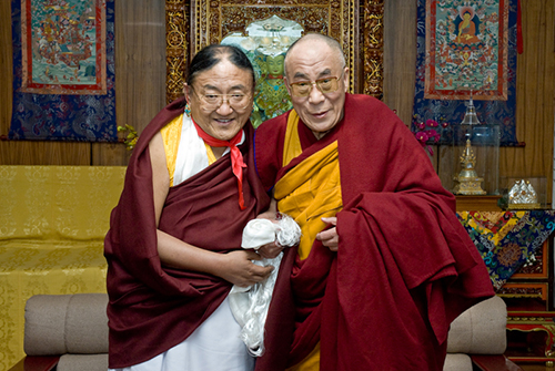 His Holiness the Dalai Lama with the Sakya Trizin Rinpoche