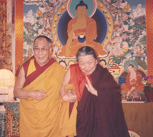 His Holiness the Dalai Lama with the Kyabje Minling Trichen Rinpoche