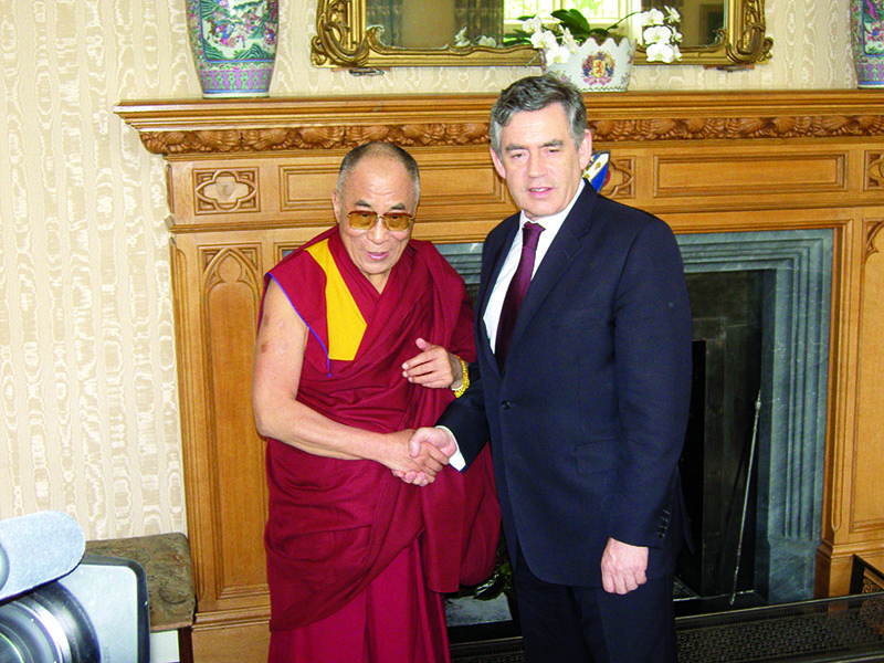 His Holiness the Dalai Lama with British Prime Minister Gordon Brown, London, 23 May 2008