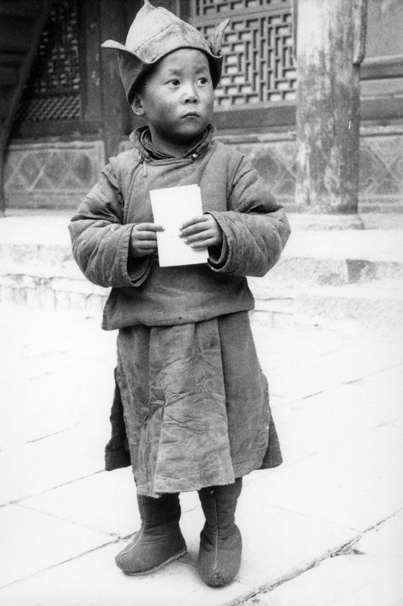 His His Holiness the Dalai Lama at the age of four at Kumbum Monastery, Amdo, 1940