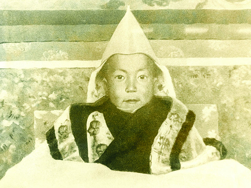 Oil painting of His Holiness the Dalai Lama at the time of enthronement at Potala Palace, Lhasa, 1940