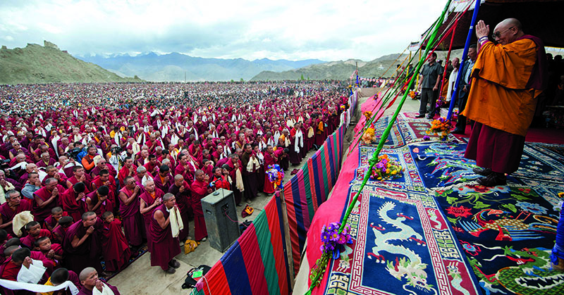 His Holiness the Dalai Lama participating in a public prayer for the victims of flood disaster in Leh, Ladakh, 13 September 2010