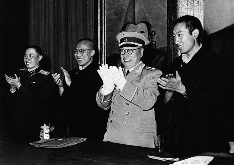 His Holiness the Dalai Lama and the Panchen Lama with Chinese leaders during their visit to China in 1954