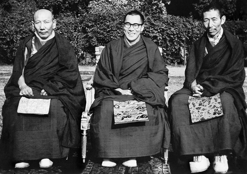 His Holiness the Dalai Lama with his tutors Ling Rinpoche and Trijang Rinpoche in Sarnath, Uttar Pradesh, India, 1956
