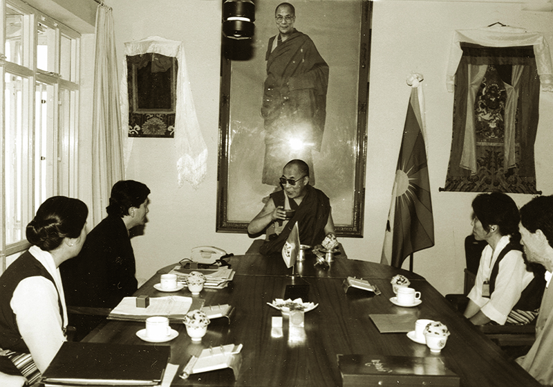 His Holiness the Dalai Lama in Council with members of the Tenth Kashag