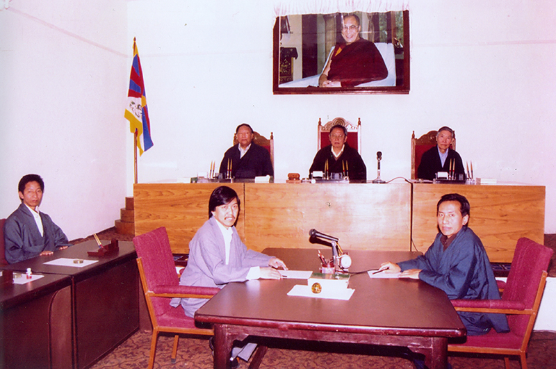 A hearing session  in progress at the office of Tibetan Supreme Justice Commission, Dharamshala, 1999
