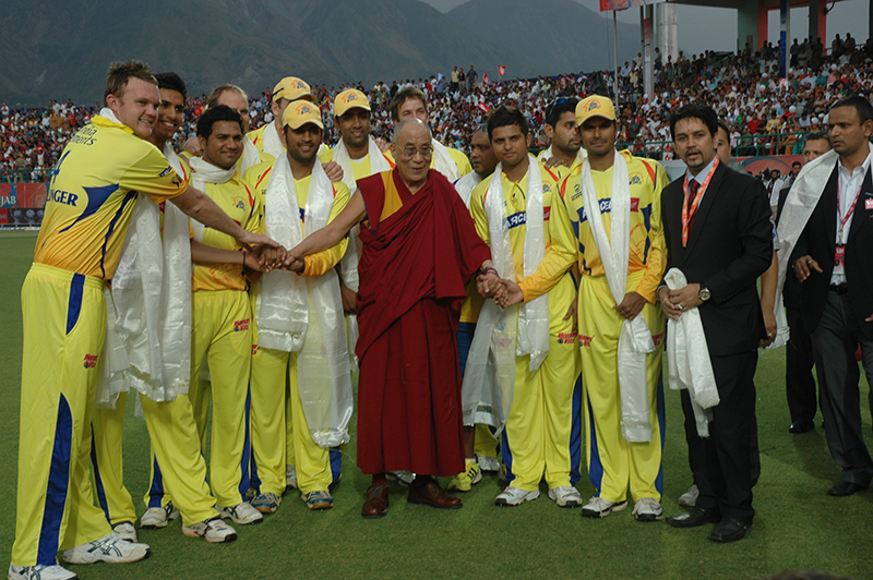 His Holiness with the members of Chennia Super King team at the Himachal Pradesh Cricket  Stadium during the IIIrd  IPL match. 18 April, 2010, Dharamsala, HP