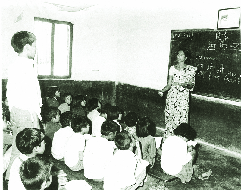 Hindi subject being taught in primary school at Lugsung Samdupling Tibetan  Settlement, Bylakuppee, 1977