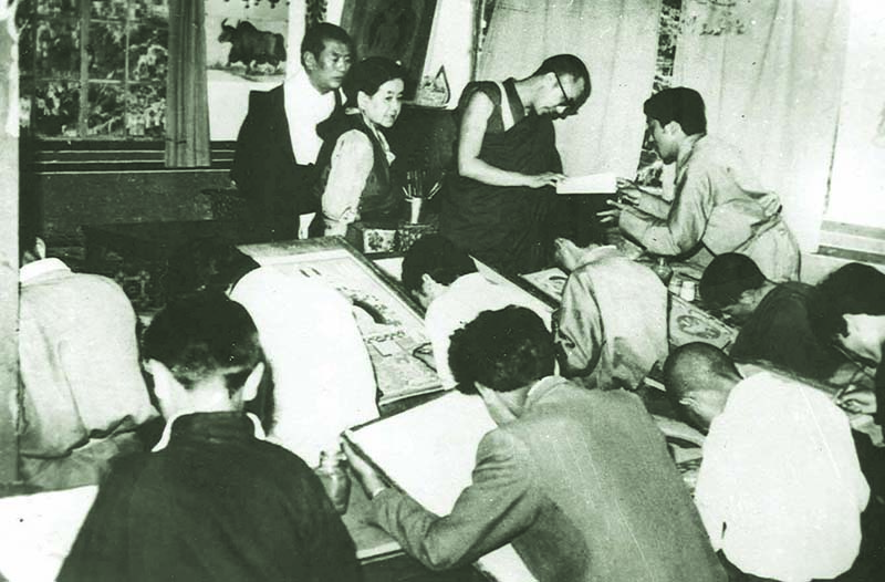 His Holiness the Dalai Lama inspecting the Thangka painting class at Tibetan Homes Foundation, Mussoorie