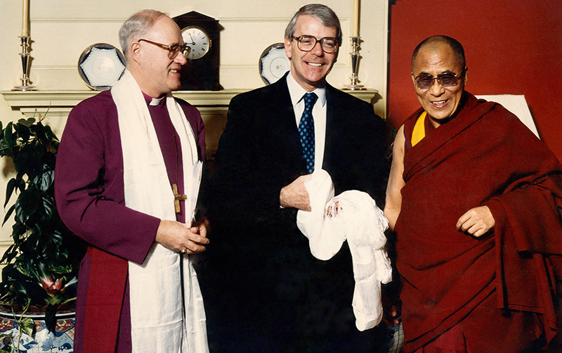His Holiness with British PM John Major on 2 Dec 1991. Photo by Clive Arrowsmith. ©Office of Tibet, London.