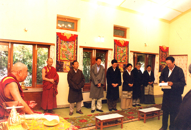 Swearing in ceremony of Eleventh Kashag members at the residence of His Holiness the Dalai Lama, Dharamshala, 1996