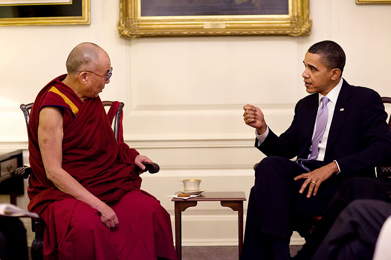 US - President Barack Obama meets with His Holiness the Dalai Lama in the Map Room of the White House 18 Febuary 2010