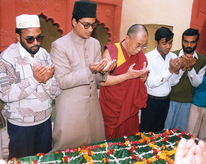 His Holiness the Dalai Lama participating in the prayer at Aligarh Muslim University, Uttar Pradesh