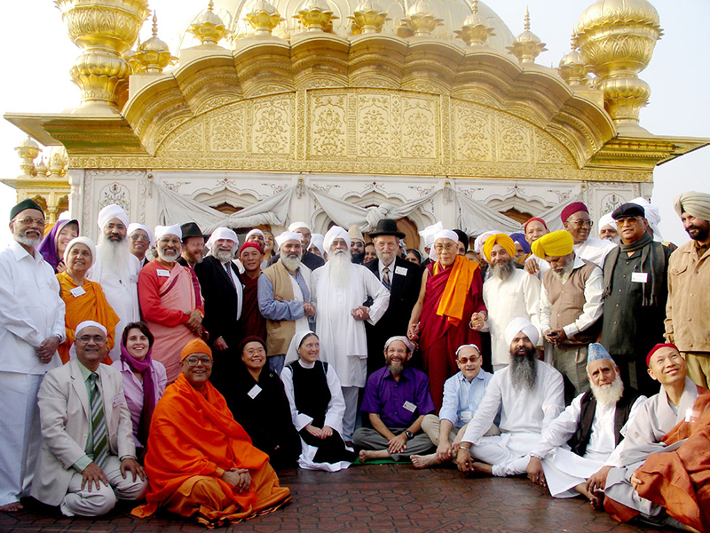His Holiness the Dalai Lama with world religious leaders during visit to Golden Temple, Amritsar, November, 2007