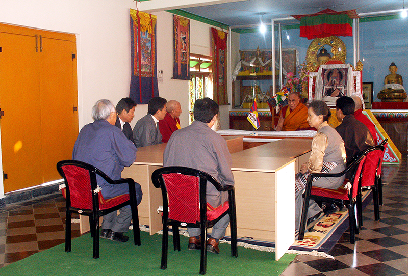 His Holiness the Dalai Lama with the members of the Thirteenth Kashag at Mundgod Tibetan settlement, 3rd January 2008