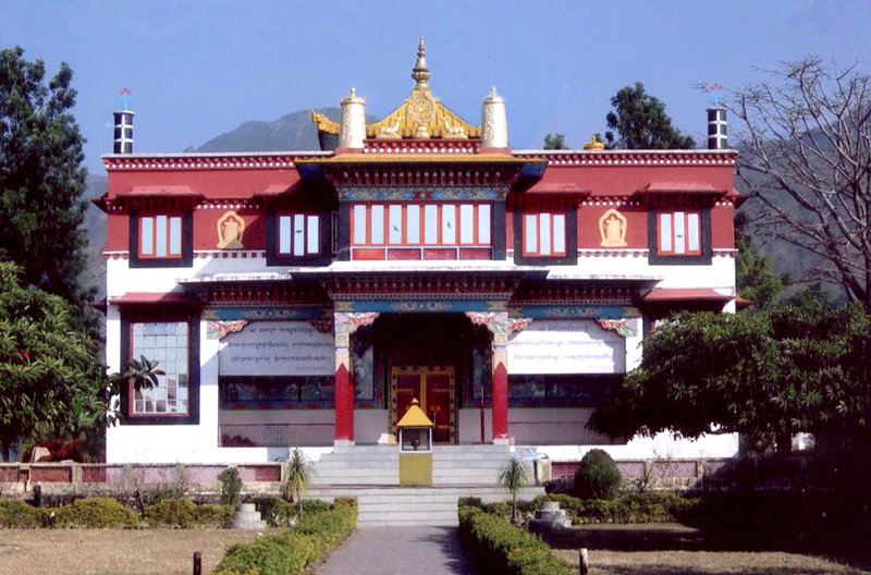 The main prayer hall of Drikung Kagyu Jangchubling monastery, Kulhan, Dehradun