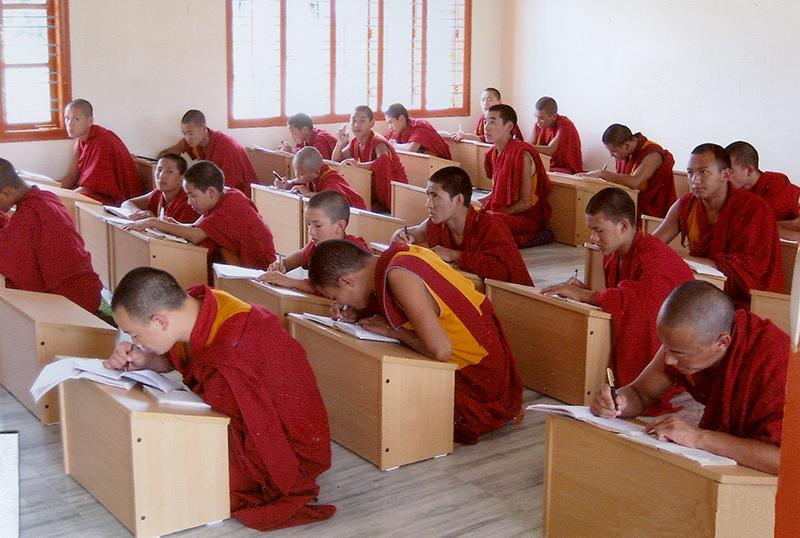 Monks of Gyudmed Tantric Monastery attending the regular monastic class, Rabgayling Tibetan settlement, Hunsur