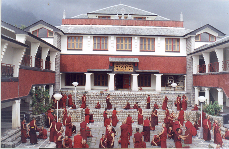 Nuns of Dolma Ling nunnery during the debate session in front of their main prayer hall, Dharamshala, Himachal Pradesh