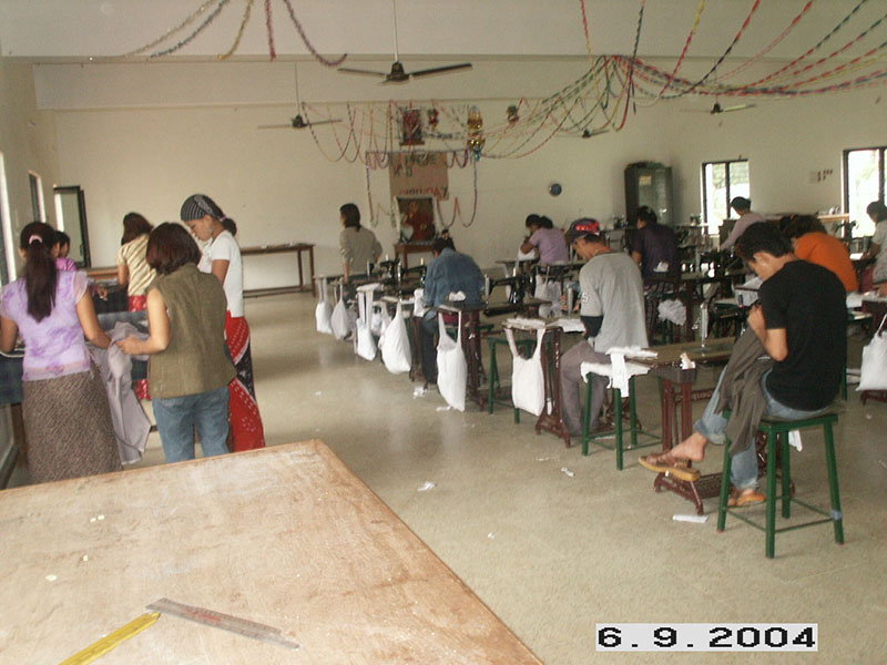 Youths undergoing tailoring workshop at the Institute for Small Trade Learning (ISTL) in Neelamangala, Bangalore