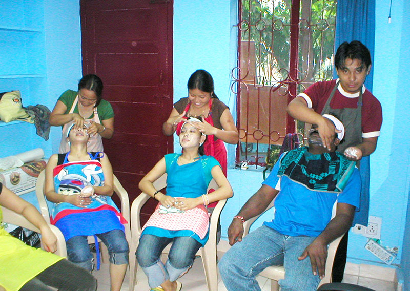 Youths undergoing beautician training at the Institute for Small Trade Learning (ISTL) in Neelamangala, Bangalore