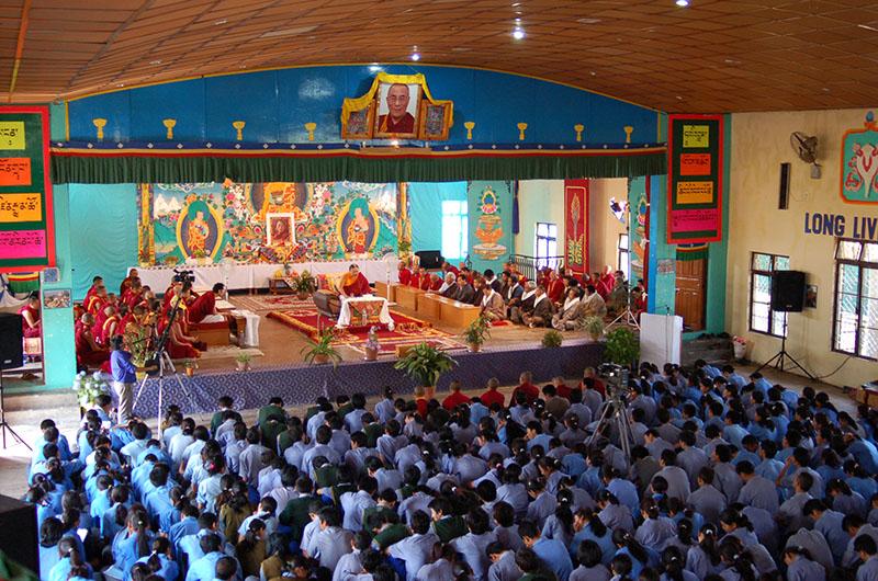 His Eminence Sakya Trizin giving religious sermon at Tibetan Children's village  (TCV), Suja, Bir, 2008
